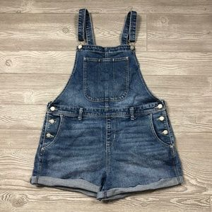 Old Navy Blue Jean Overall Shorts Women's L C15